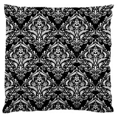 Damask1 Black Marble & White Linen (r) Large Flano Cushion Case (two Sides)