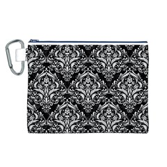 Damask1 Black Marble & White Linen (r) Canvas Cosmetic Bag (l)
