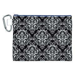 Damask1 Black Marble & White Linen (r) Canvas Cosmetic Bag (xxl)