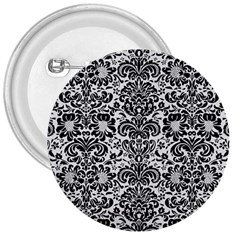 Damask2 Black Marble & White Linen 3  Buttons