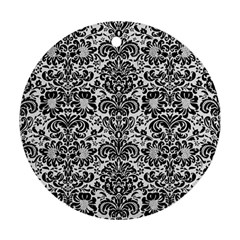 Damask2 Black Marble & White Linen Ornament (round)