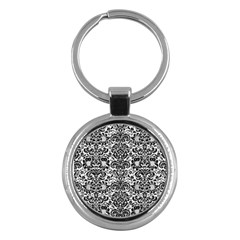 Damask2 Black Marble & White Linen Key Chains (round)