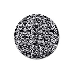 Damask2 Black Marble & White Linen Rubber Round Coaster (4 Pack)