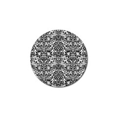 Damask2 Black Marble & White Linen Golf Ball Marker (10 Pack)