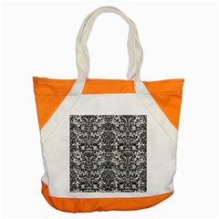 Damask2 Black Marble & White Linen Accent Tote Bag