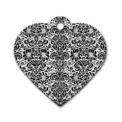 Damask2 Black Marble & White Linen Dog Tag Heart (one Side)