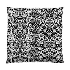 Damask2 Black Marble & White Linen Standard Cushion Case (two Sides)