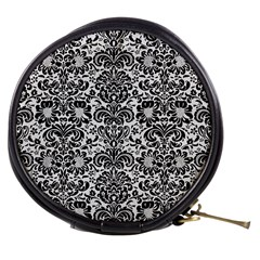 Damask2 Black Marble & White Linen Mini Makeup Bags