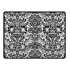 Damask2 Black Marble & White Linen Fleece Blanket (small)