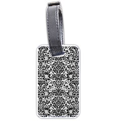 Damask2 Black Marble & White Linen Luggage Tags (two Sides)