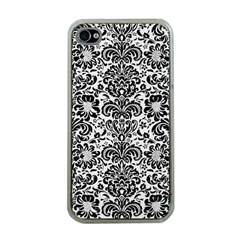 Damask2 Black Marble & White Linen Apple Iphone 4 Case (clear)