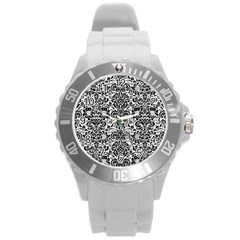 Damask2 Black Marble & White Linen Round Plastic Sport Watch (l)