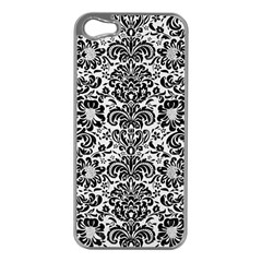 Damask2 Black Marble & White Linen Apple Iphone 5 Case (silver)