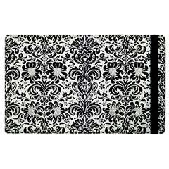 Damask2 Black Marble & White Linen Apple Ipad 3/4 Flip Case
