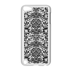 Damask2 Black Marble & White Linen Apple Ipod Touch 5 Case (white)