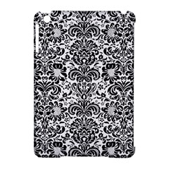 Damask2 Black Marble & White Linen Apple Ipad Mini Hardshell Case (compatible With Smart Cover)