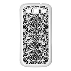 Damask2 Black Marble & White Linen Samsung Galaxy S3 Back Case (white)