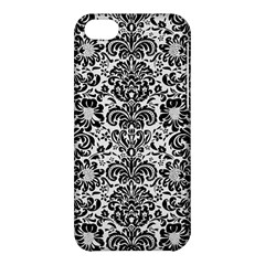 Damask2 Black Marble & White Linen Apple Iphone 5c Hardshell Case