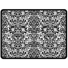 Damask2 Black Marble & White Linen Double Sided Fleece Blanket (large)