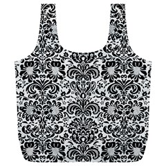 Damask2 Black Marble & White Linen Full Print Recycle Bags (l)