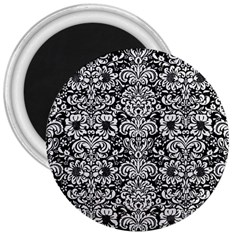 Damask2 Black Marble & White Linen (r) 3  Magnets