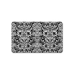 Damask2 Black Marble & White Linen (r) Magnet (name Card)