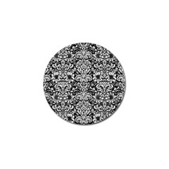 Damask2 Black Marble & White Linen (r) Golf Ball Marker