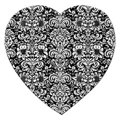 Damask2 Black Marble & White Linen (r) Jigsaw Puzzle (heart)