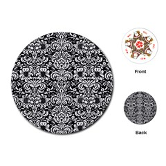Damask2 Black Marble & White Linen (r) Playing Cards (round)