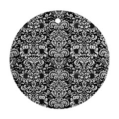 Damask2 Black Marble & White Linen (r) Round Ornament (two Sides)
