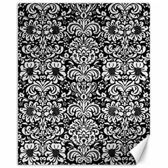 Damask2 Black Marble & White Linen (r) Canvas 16  X 20