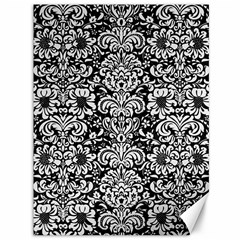 Damask2 Black Marble & White Linen (r) Canvas 36  X 48