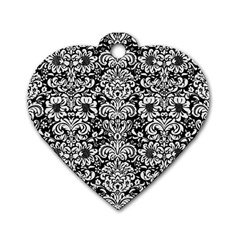 Damask2 Black Marble & White Linen (r) Dog Tag Heart (one Side)