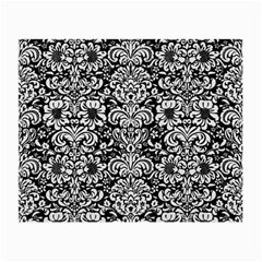 Damask2 Black Marble & White Linen (r) Small Glasses Cloth (2 Side)
