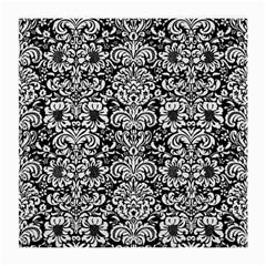 Damask2 Black Marble & White Linen (r) Medium Glasses Cloth (2 Side)