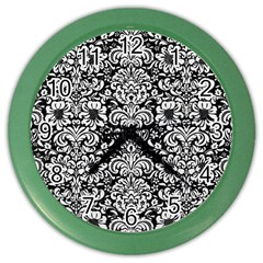 Damask2 Black Marble & White Linen (r) Color Wall Clocks