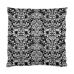 Damask2 Black Marble & White Linen (r) Standard Cushion Case (one Side)