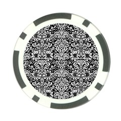 Damask2 Black Marble & White Linen (r) Poker Chip Card Guard (10 Pack)