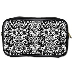 Damask2 Black Marble & White Linen (r) Toiletries Bags 2 Side