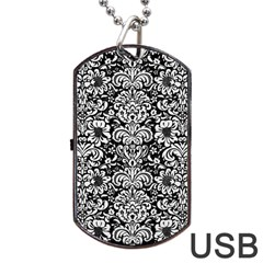 Damask2 Black Marble & White Linen (r) Dog Tag Usb Flash (two Sides)