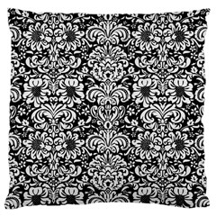 Damask2 Black Marble & White Linen (r) Large Cushion Case (one Side)