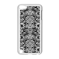 Damask2 Black Marble & White Linen (r) Apple Ipod Touch 5 Case (white)