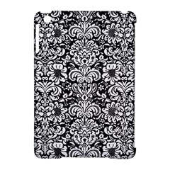 Damask2 Black Marble & White Linen (r) Apple Ipad Mini Hardshell Case (compatible With Smart Cover)