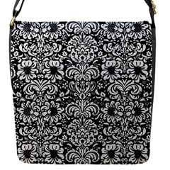 Damask2 Black Marble & White Linen (r) Flap Messenger Bag (s)