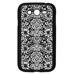Damask2 Black Marble & White Linen (r) Samsung Galaxy Grand Duos I9082 Case (black)