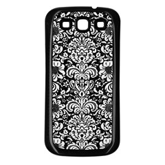 Damask2 Black Marble & White Linen (r) Samsung Galaxy S3 Back Case (black)
