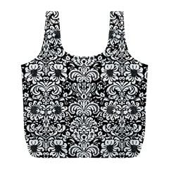 Damask2 Black Marble & White Linen (r) Full Print Recycle Bags (l)