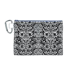 Damask2 Black Marble & White Linen (r) Canvas Cosmetic Bag (m)