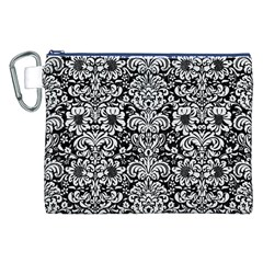 Damask2 Black Marble & White Linen (r) Canvas Cosmetic Bag (xxl)