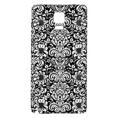 Damask2 Black Marble & White Linen (r) Galaxy Note 4 Back Case